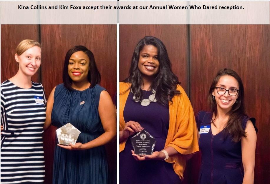 Kina Collins and Kim Foxx Accept their Women Who Dared Award