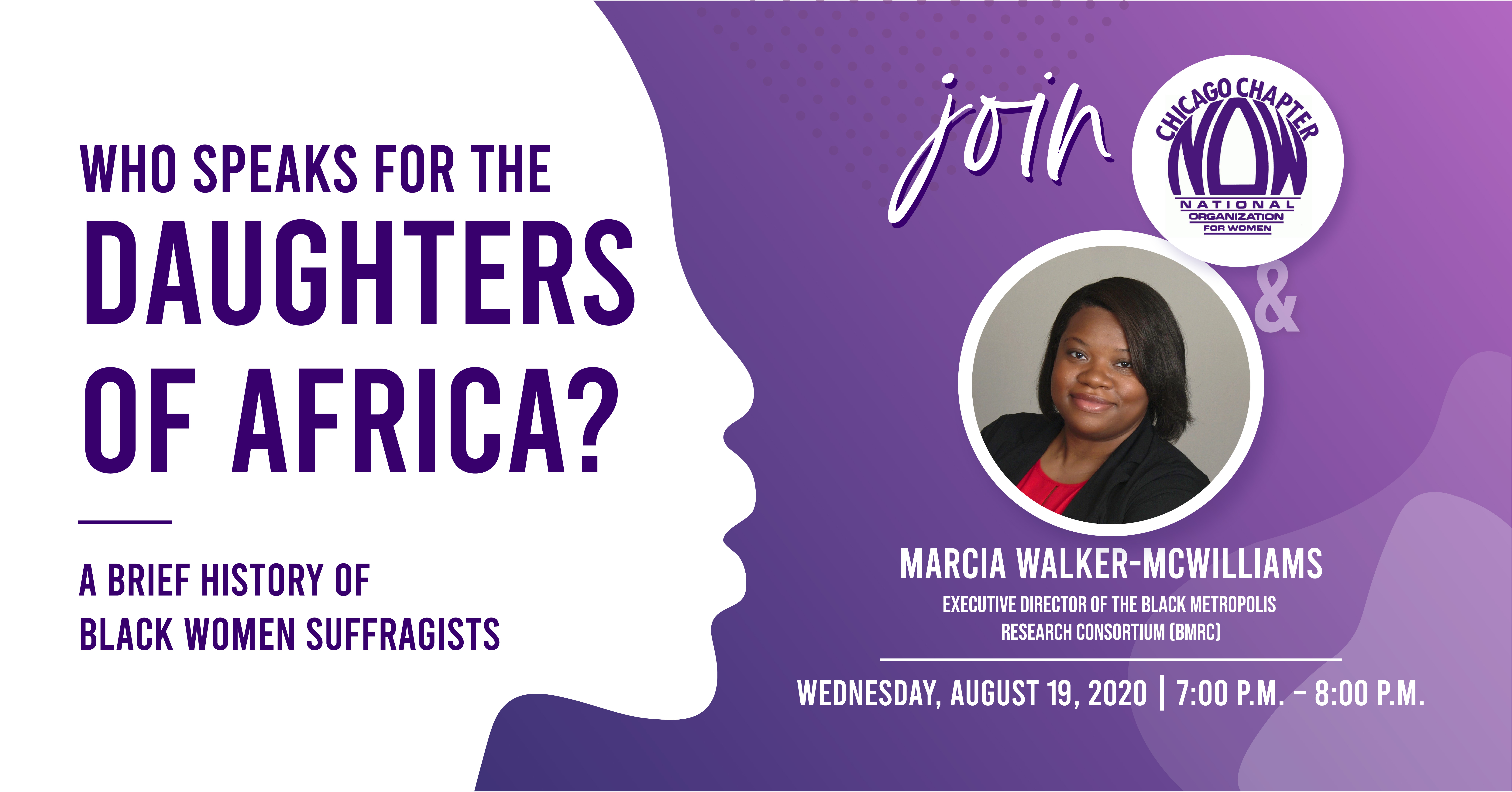 "CNOW Virtual Event with Marcia Walker-McWilliams, Honoring Black Suffragists on the 19th Amendment Centennial|Wednesday, August 19, 2020|7:00 P.M. - 8:00 P.M."" class="