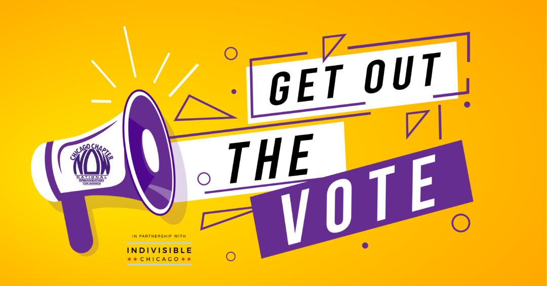 "Image of megaphone plus text ""Get Out the Vote"" with CNOW & Indivisible Chicago"
