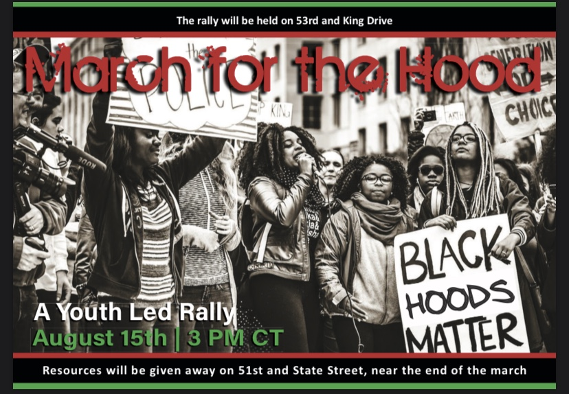 Picture of youth at rally with text, March for the Hood